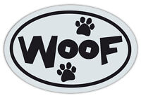 Oval Shaped Pet Magnets: WOOF BLACK AND WHITE (Dogs) | Cars, Trucks