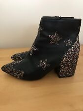 Black Ankle Boots With Multi Glitter Stars By ASOS Size 4 Worn Once