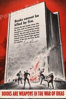 """1940s """"Books Are Weapons"""" Book Burning WWII Propaganda War Poster - 16x24"""