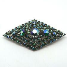 Brooch - Vintage Pin / Badge Large Art Deco Blue / Greem