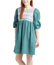Cotton Boho Dress Size 14 Short Ladies Womens Green Geometric With Puff Sleeves