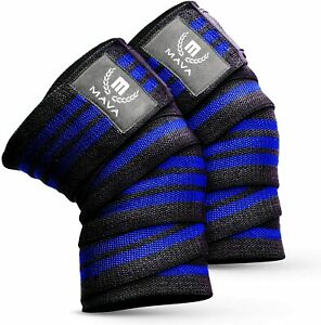 """Mava 72"""" Blue Knee Compression Wraps for Training Gym Workout Weightlifting Pair"""
