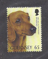 Dog Art Head Study Postage Stamp SMOOTH HAIRED DACHSHUND Guernsey UK 2001 MNH