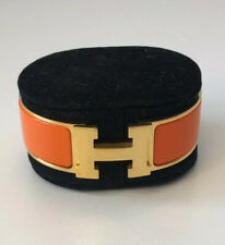 Hermes Clic Clac H Bracelet Orange And Gold