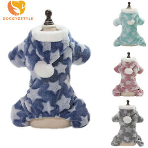 Star Warm Fleece Pet Dog Jumpsuit Pajamas Clothes Puppy Cat Hoodie Coat Costumes