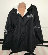 Victoria's Secret Pink Limited Release Sherpa Lined Snap Up Coach Jacket -Medium