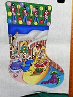 3 Mice Christmas Party Stocking Hand Painted Needlepoint Canvas
