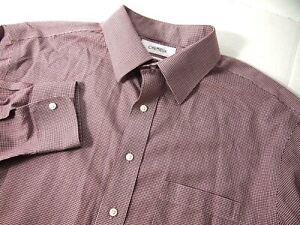 Daniel Cremieux Mens Dress Shirt 16.5 35 Button 100% Pima Cotton Red Houndstooth