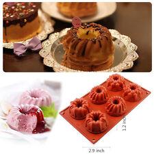 6-Cavity Silicone Bundt Cake Mold Baking Pan Cup Mould Savarin Cookie Bakeware