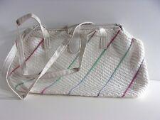 VTG 1980s White Weave Rainbow Color Strap Button Shoulder Baguette Handbag Purse