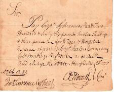 1776, Oliver Ellsworth, signed pay order, Capt., Sylvanus Mead, Hospital Expense