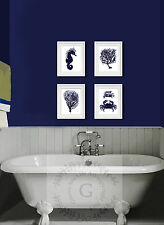 Navy Blue White Beach Decor Bathroom Wall Hanging set of 4 art prints Sea Corals
