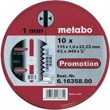 """Metabo 616358000 115mm (4 1/2"""") Angle Grinder Discs Pack of 10 - Metal Cutting"""