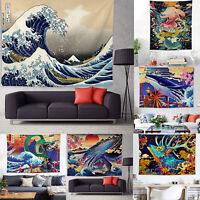Japanese Ukiyo-e Kanagawa Wall Hanging Tapestry Bedspread Throw Cover Room Decor