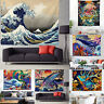 Japanese Ukiyo-e Kanagawa Surf Wall Hanging Art Wave Printed Tapestry Home Decor