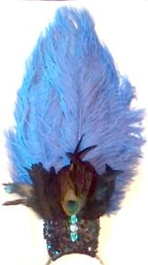 Blue Peacock Ostrich Feather Jeweled SHOWGIRL HEADDRESS Burlesque Costume USA