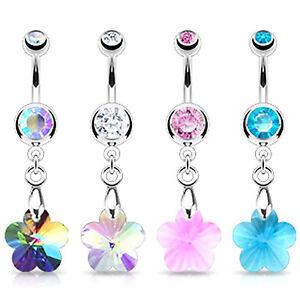 SPARKLY PRISM FLOWER BELLY BAR Crystal Rhinestone Dangle Steel Navel Piercing