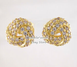 LOVE KNOT Authentic PANDORA Shine YELLOW GOLD Plated Earring STUDS 260696CZ NEW