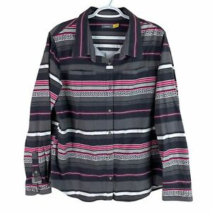 Cabelas Chamois Flannel Shirt Womens XL Gray Pink Striped Button Up Heavy Cotton