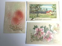 3 Victorian vintage postcards raised gold letters Xmas Birthday Germany embossed