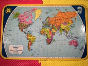 """Rare J. Chein Physical Political Relief Map of the World Raised Metal 25-1/2"""""""