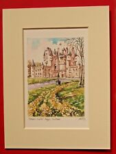 ROYAL GLAMIS CASTLE ANGUS SCOTLAND CHARMING MOUNTED WATER COLOUR PRINT 8X6 NICE