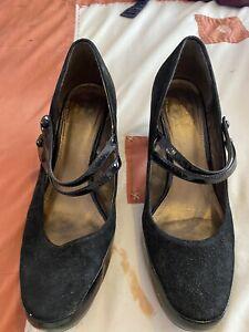 Ladies Black Clarks Suede Shoes Size 7