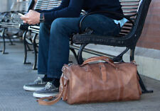 Leather Vintage Bag Travel Overnight Brown Duffle Duffel Luggage Mens Gym Men