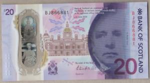 BANK OF SCOTLAND NEW POLYMER £20 UNCIRCULATED PREFIX [ BJ 866881 ]  FREEPOST UK