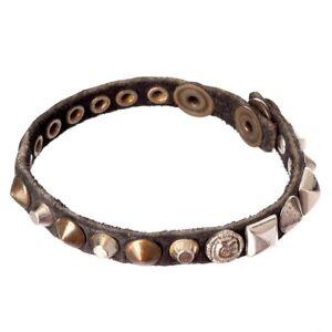 Diesel Unisex Alie Black Leather Studded Bracelet + Case BNWT l m RRP £60   Di17