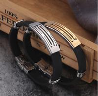 Armband Edelstahl Armreif Silber für Herren Männer Life Style Schwarz Silikon B6