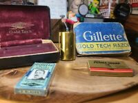 1940s Gillette Gold Tech Safety Razor Set Case shippers box orig blades 2 pack