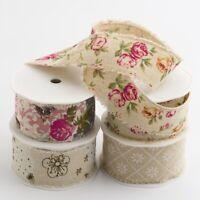 Burlap Printed Shabby Chic Frayed Edge Natural Vintage Wedding Craft Ribbon