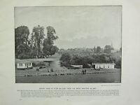 1896 Vittoriano Londra Stampa + Testo ~ Vista Di Eton College