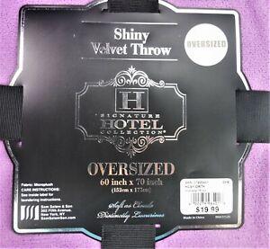 "Shiny Velvet Throw Blanket Oversized Purple 60""x70"" MicroPlush Fleece Polyester"