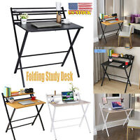 Folding Writing Table PC Computer Desk Home Office Workstation W/ Storage Shelve