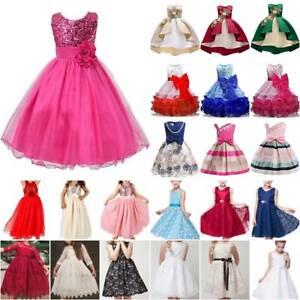 Kinder Mädchen Prinzessin Tutu Kleid Hochzeit Abend Party Festkleid Ballkleid DE