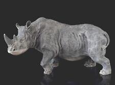 "Rhinoceros Marble Statue Rhino Stone Figurine Russian Art Animal Sculpture 8"""