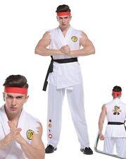 Adult Mens Street Fighter Costume Karate Kid Ryu Fighter Fancy Dress Ninja