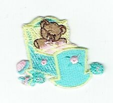 Iron-On Applique Embroidered Patch - Teddy Bear Baby Doll Cradle