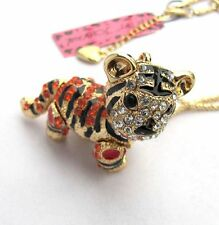 Betsey Johnson Red crystal&black enamel Cute little tiger pendant Necklace#376LR