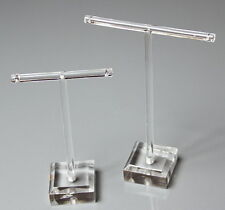 2 x CLEAR T BAR TYPE ACRYLIC DROP EARRING STUD  JEWELLERY DISPLAY STANDS RACKS