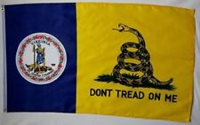 Gadsden Don't Tread On Me Virginia State Flag 3'x5' Banner Brass Grommets