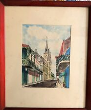 William Collins Listed Artist Original Watercolor of New Orleans Street Dated 57