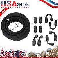 6AN -6AN Black Nylon E85 PTFE Fuel Line 20FT 10 Fittings Hose Kit E85 US STOCK A