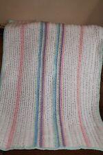 HANDMADE ACRYLIC CRIB BABY WHEELCHAIR AFGHAN BLANKET   *Pastels & White Stripe *