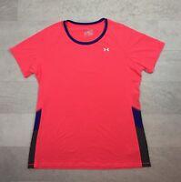 Under Armour Women's Shirt Size XL Orange Pink Heat Gear Fitted Top Stretch UA