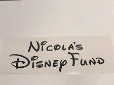 "Single Name Disney Fund Vinyl Decal Disney Text 3"" X 6"""