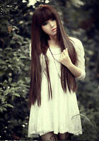 Women's Style Black/Brown Fashion Long Straight Girl Full Hair Wig Cosplay New
