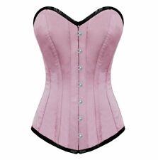 Pink Blush Satin Bustier Waist Training Corset Maker Costume Long Overbust Top